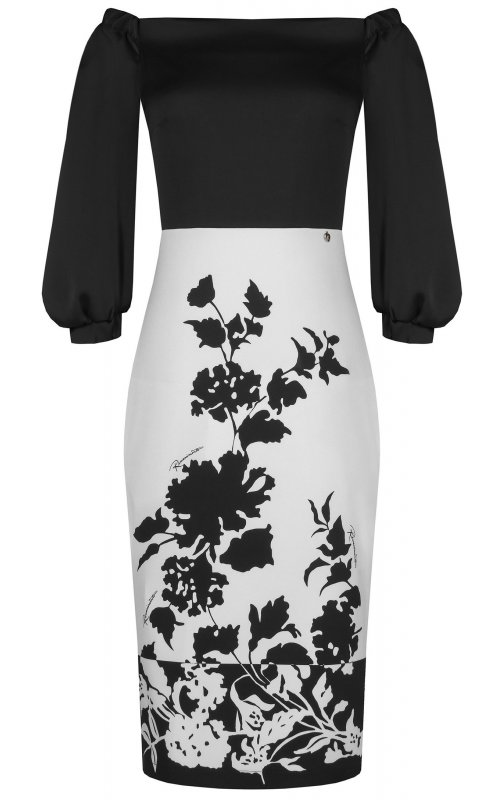 Черное платье с белой юбкой и принтом RINASCIMENTO 97215