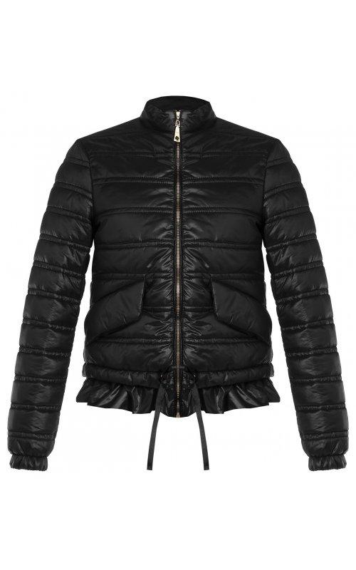 Черная стеганная куртка с оборкой RINASCIMENTO 97350