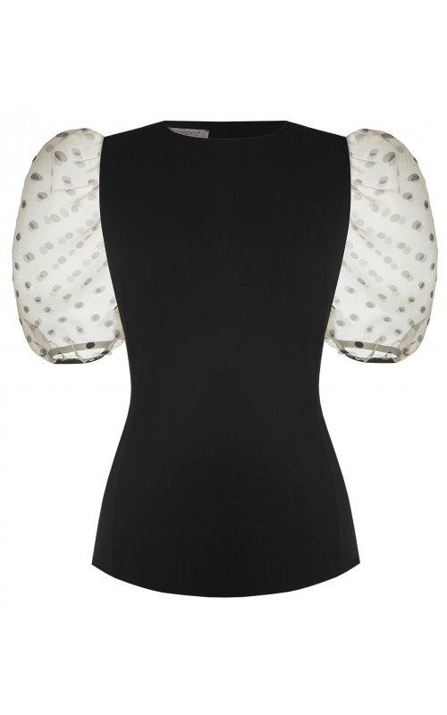 Черная блуза с объемными рукавами RINASCIMENTO 17265