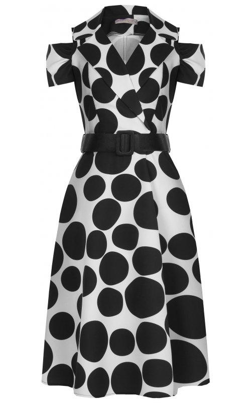 Белое платье в черный горох RINASCIMENTO 96960