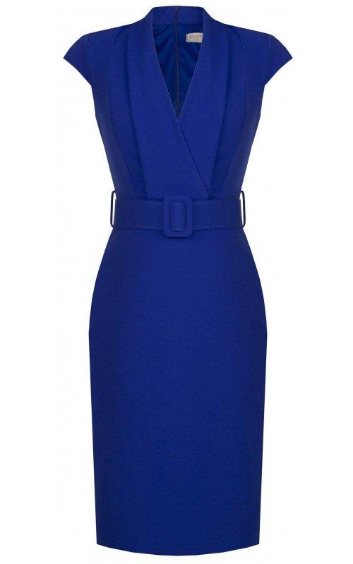 Синее платье с V-образным вырезом и поясом RINASCIMENTO 97252