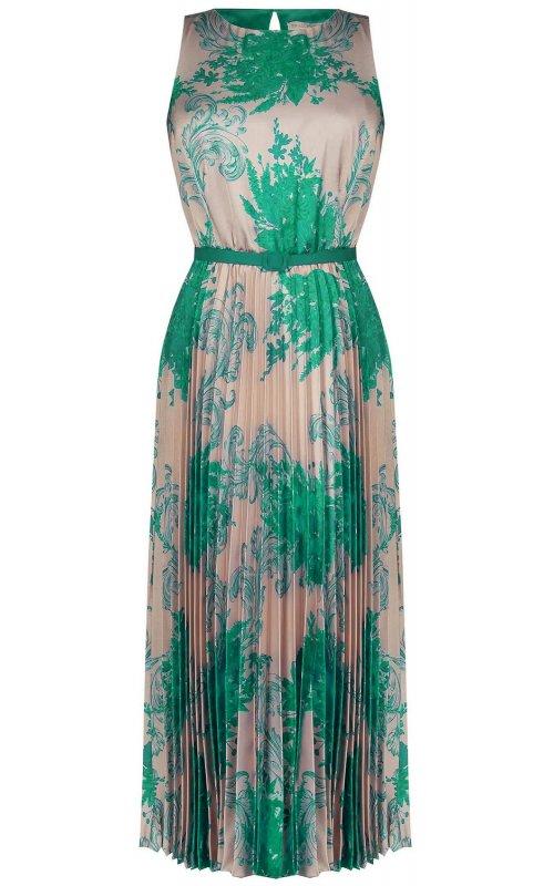 Длинное платье с зеленым цветочным принтом RINASCIMENTO 97470