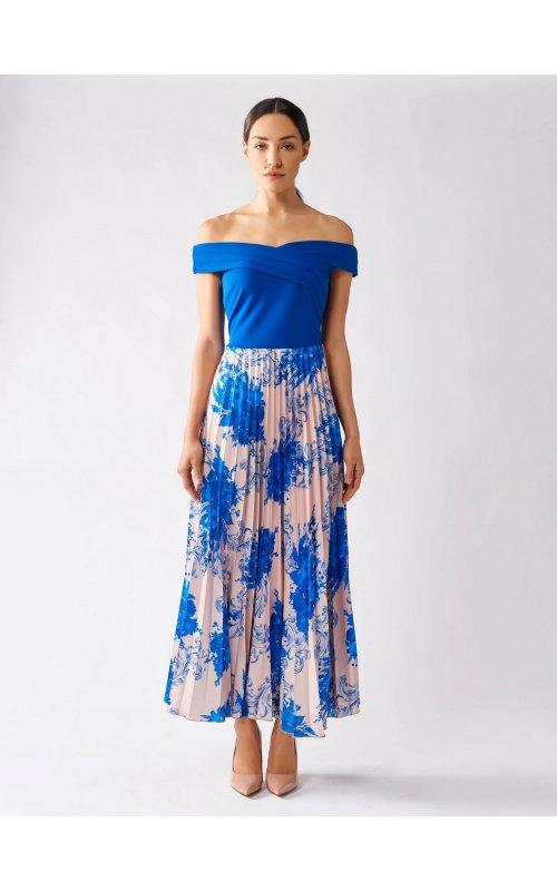Синее платье с юбкой с цветочным принтом RINASCIMENTO 97769