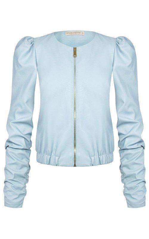 Голубая куртка-бомбер из искусственной кожи RINASCIMENTO 102331