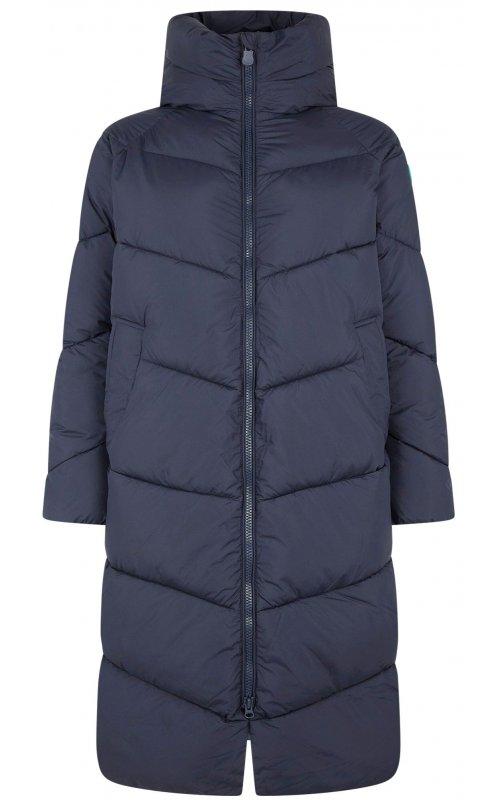 Удлиненная куртка темно-синего цвета с капюшоном SAVE THE DUCK SD 4462