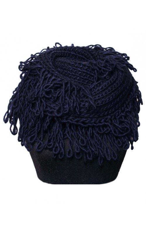 Синий шарф-хомут с бахромой STEFANIA MAIAROLI 19443085