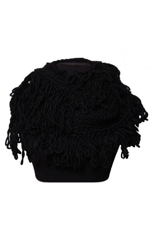 Черный шарф-хомут с бахромой STEFANIA MAIAROLI 19443085