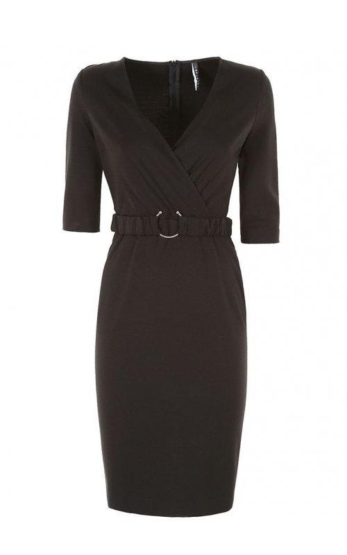 Черное платье с V- образным вырезом IMPERIAL AVK0UGU