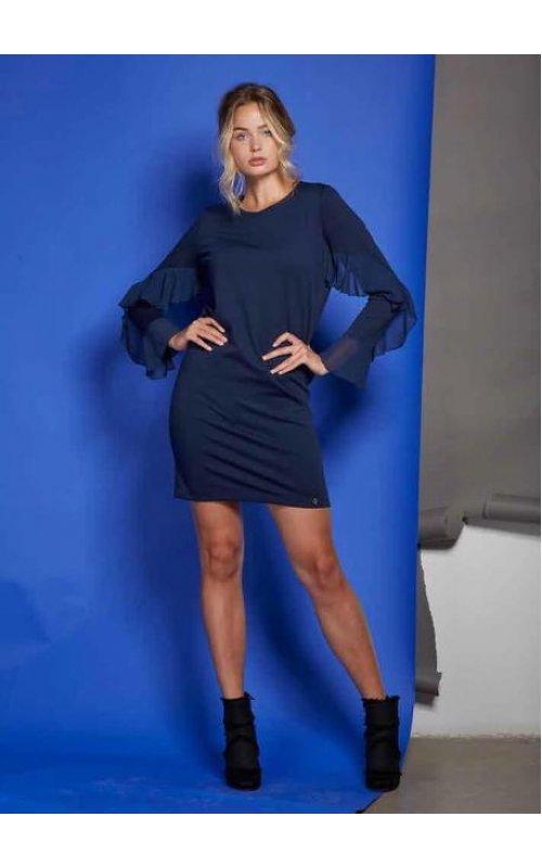 Синее платье с оборками на рукавах Anima Gemella 18AIA084