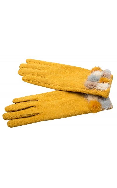 Желтые женские перчатки с мехом Anna Pepe AP 563Z