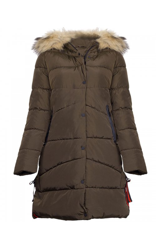 Куртка цвета хаки с мехом Anna Pepe AP F167