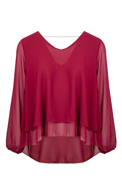 Ассиметричная блуза бордового цвета Anna Pepe AP 5580