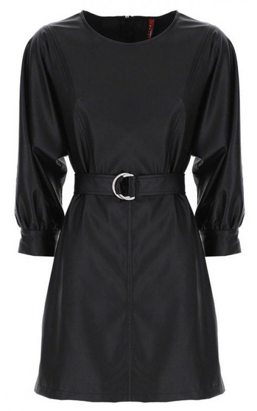 Черное кожаное платье с поясом IMPERIAL A9QWYRH