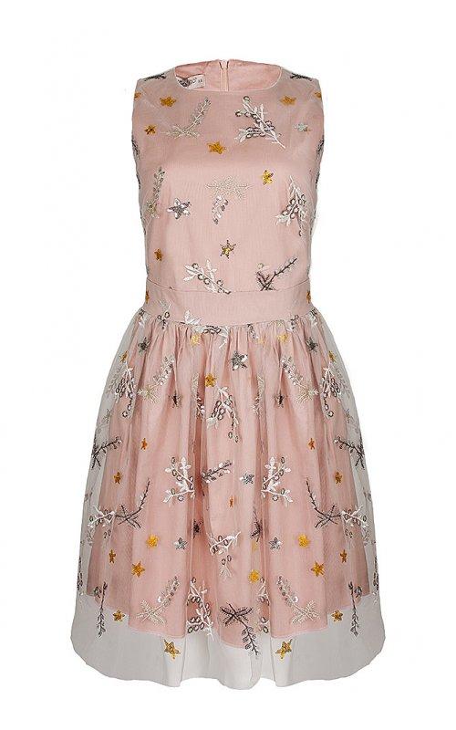 Розовое платье с вышивкой RINASCIMENTO 16540