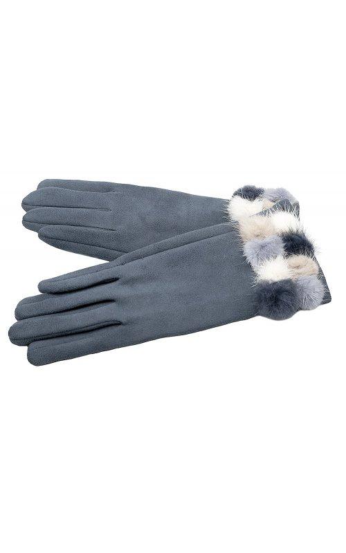 Серые женские перчатки с мехом Anna Pepe AP 563Z
