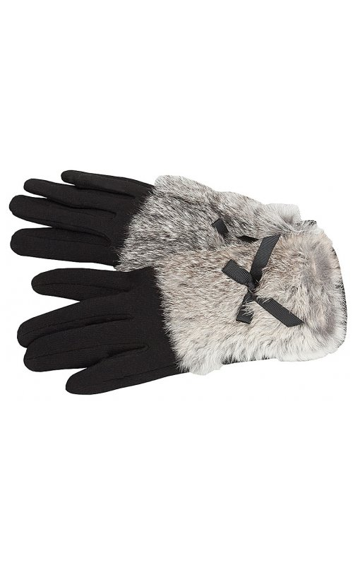 Черные женские перчатки с мехом Anna Pepe AP 237