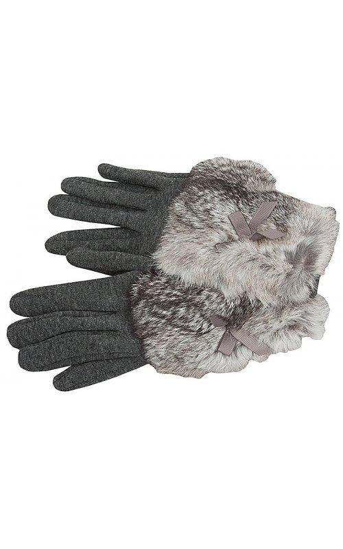 Серые женские перчатки с мехом Anna Pepe AP 237
