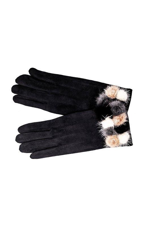 Черные женские перчатки с мехом Anna Pepe AP 563Z