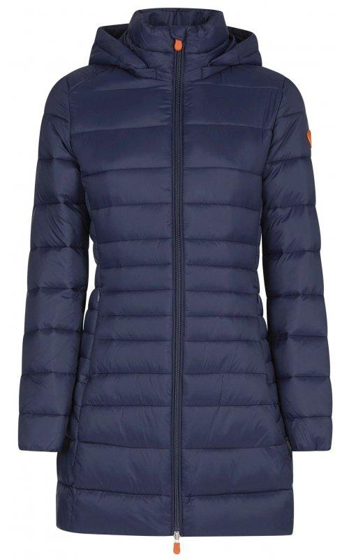 Удлиненная синяя куртка с капюшоном SAVE THE DUCK SD 4022