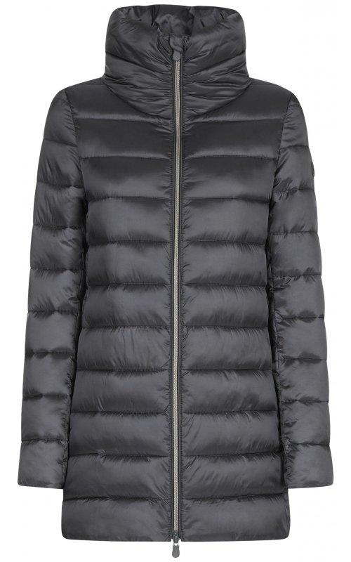 Серая удлиненная куртка с высоким воротом SAVE THE DUCK SD 4362