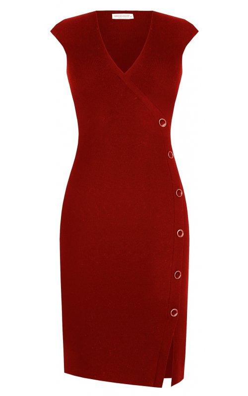 Красное платье-футляр со шлицей RINASCIMENTO 9295