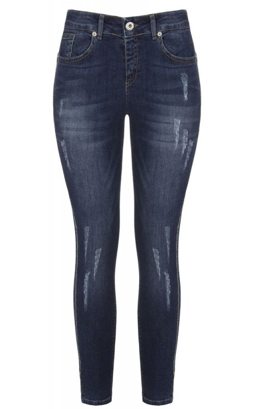 Синие зауженные джинсы с потертостями RINASCIMENTO 90933