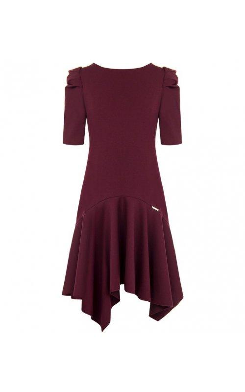 Стильное бордовое платье с вырезом на спине RINASCIMENTO 84106
