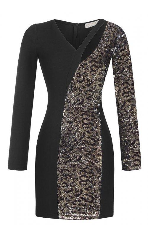 Стильное черное платье с пайетками RINASCIMENTO 90054